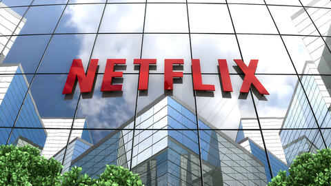 March 2019, Editorial use only, 3D animation, Netflix logo on glass building Animation