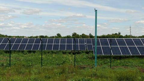 Massive solar power station in the field, alternative energy, 4k Live Action