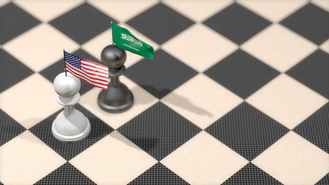 Chess Pawn with country flag, United States, Saudi Arabia Animation