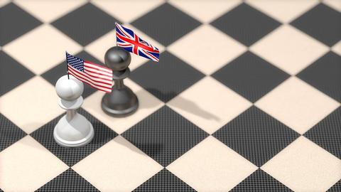 Chess Pawn with country flag, United States, United Kingdom Animation