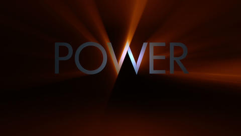 Futuristic technology light video animation with text POWER, loop HD Animation