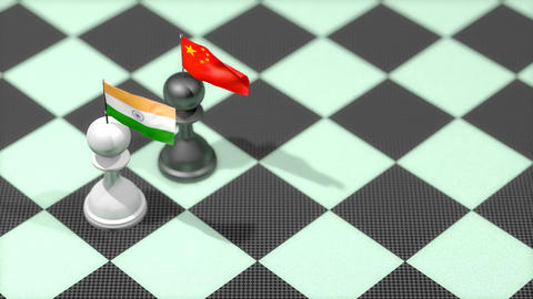 Chess Pawn with country flag, India, China Animation