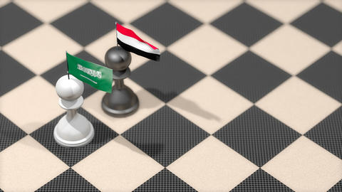 Chess Pawn with country flag, Saudi Arabia, Yemen Animation