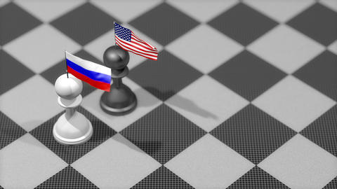 Chess Pawn with country flag, Russia, United States Animation