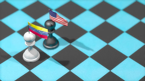 Chess Pawn with country flag, Venezuela, United States Animation