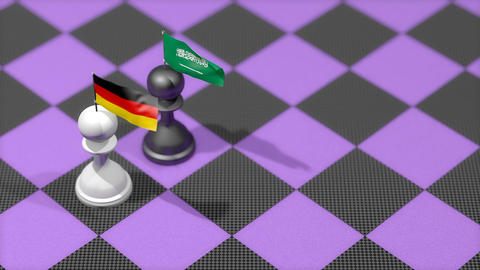 Chess Pawn with country flag, Germany, Saudi Arabia Animation