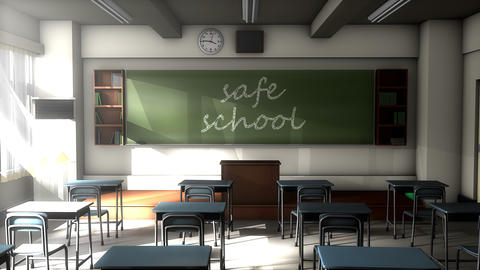 Classroom black board text, Safe school Animation