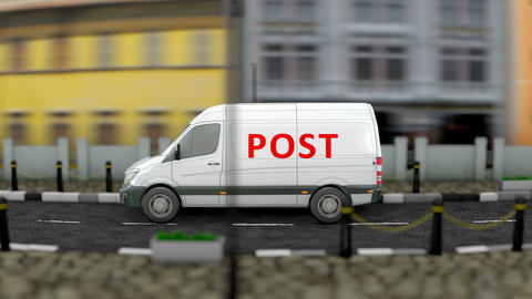 Post office van service vehicle Animation