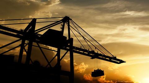 Sea port cranes over sunset Animation
