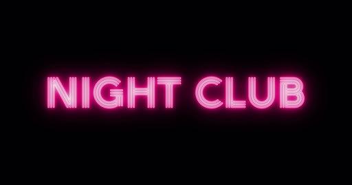 Neon sign text night club Animation