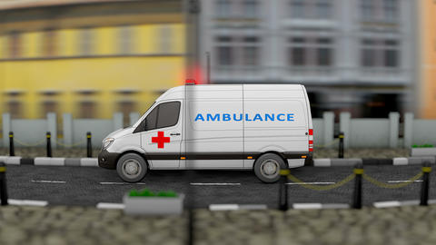 Ambulance van service vehicle Animation