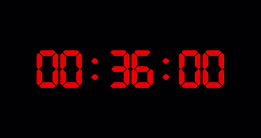 One minute countdown timer of glowing led red digits Animation