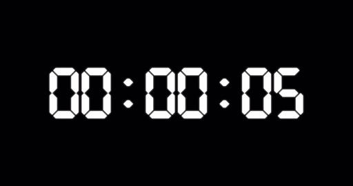 One minute counter of glowing led electronic white digits Animation