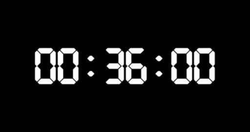 One minute countdown timer of glowing led electronic white digits Animation
