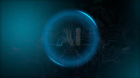Artificial Intelligent technology, AI typography background animation Animation