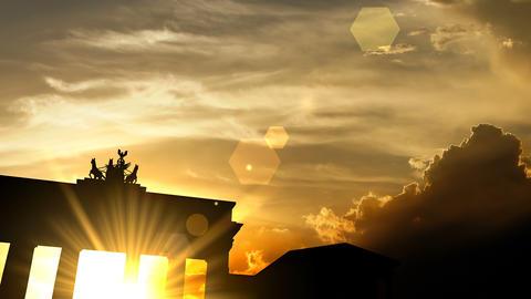 Brandenburg gate over sunset, 3d animation Animation