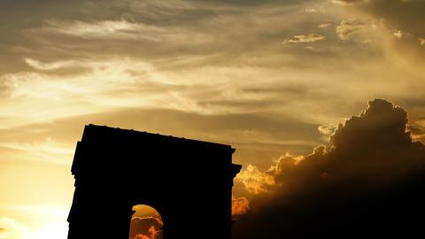 Arc de triomphe over sunset, 3d animation Animation