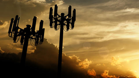 Telecommunication cell tower on sunset Animation
