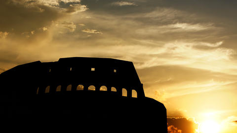 Colosseum over sunset, 3d animation Animation