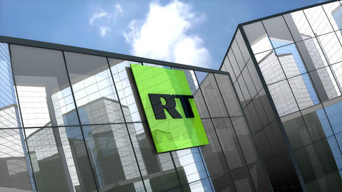 April 2019, Editorial RT TV Network logo on glass building Animation