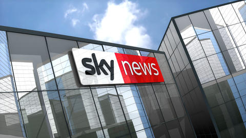 April 2019, Editorial Sky News logo on glass building Animation