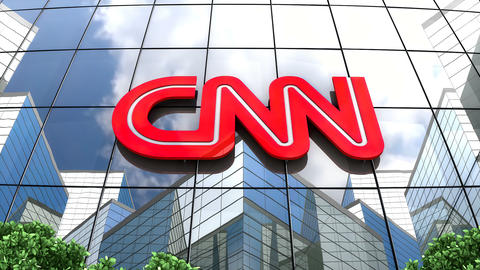 April 2019, Editorial CNN logo on glass building Animation