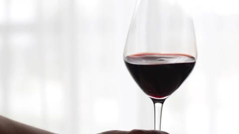 Glass of red wine indoors at wine-tasting event, holiday drink and aperitif as Live Action
