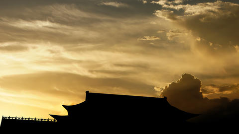 The Forbidden City over sunset, 3d animation Animation