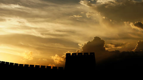 Great of Wall China over sunset, 3d animation Animation