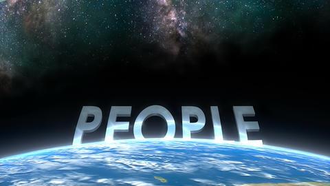Earth horizon view, People Animation