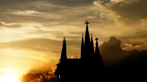 Sagrada Familia over sunset, 3d animation Animation