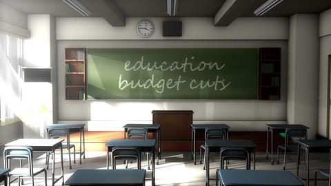 Classroom black board text, Education budget cuts Animation