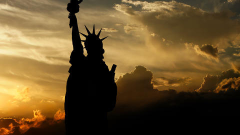 Statue of Liberty over sunset, 3d animation Animation