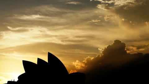 Sydney Opera House over sunset, 3d animation Animation