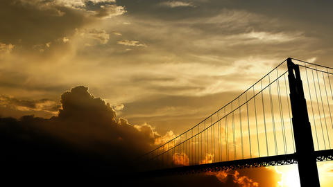 Golden Gate Bridge over sunset, 3d animation Animation