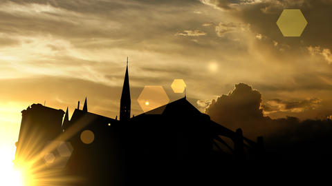 Notre Dame cathedral over sunset, 3d animation Animation