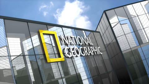 April 2019, Editorial National Geographic logo on glass building Animation