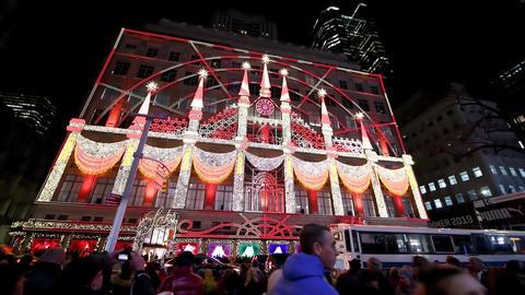 NEW YORK CITY - DECEMBER 2018: Saks night lights show in Manhattan, New York Live Action