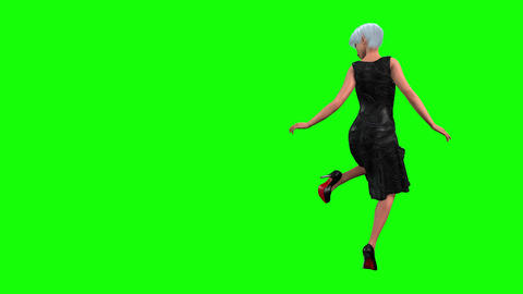 796 4k FASHION TWO FOOTAGES 3D animated model looks in mirror and catwalks Animation