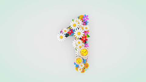 Numerical digit floral animation, 1 Animation