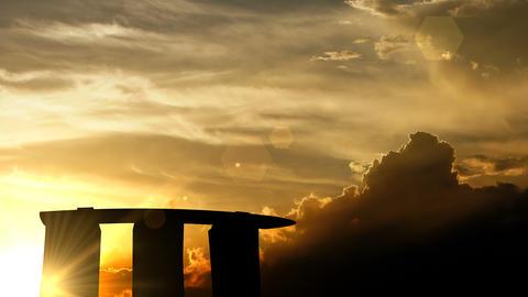 Marina Bay Sands, Singapore over sunset, 3d animation Animation