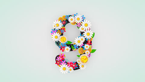 Numerical digit floral animation, 9 Animation