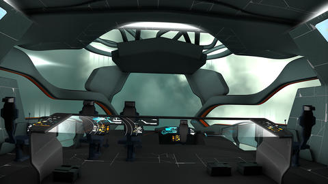 Sci-Fi spaceship command room view CG動画