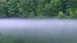 Mornng haze on lake surface, Hokkaido, Japan Footage
