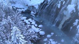 Water stream and snow, Hokkaido, Japan Footage