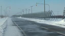 Road covered in snow, Hokkaido, Japan Footage