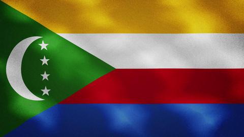 Comoros dense flag fabric wavers, background loop Videos animados