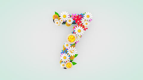 Numerical digit floral animation, 7 Animation