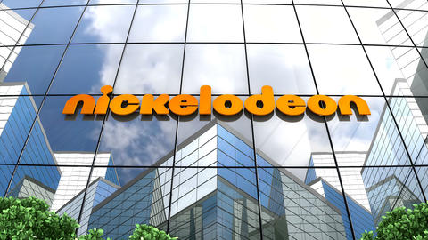 May 2019, Editorial use only, Nickelodeon logo on glass building Animation