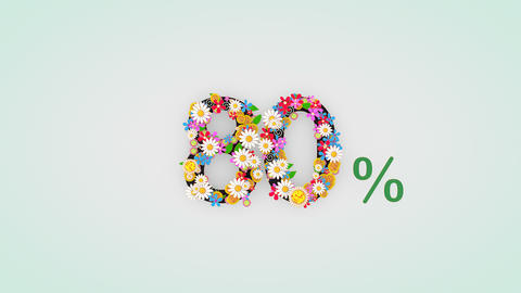 Numerical digit floral animation, 80 percent Animation